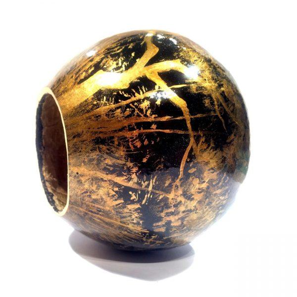 Painted berimbau instrument for capoeira gold black style