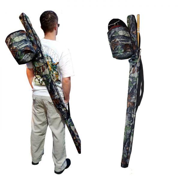 Forest design Black waterproof berimbau bag for capoeira with baqueta pocket and cabaca bag attached