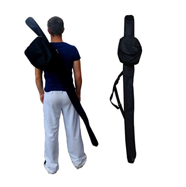 Black waterproof berimbau bag for capoeira with baqueta pocket and cabaca bag attached
