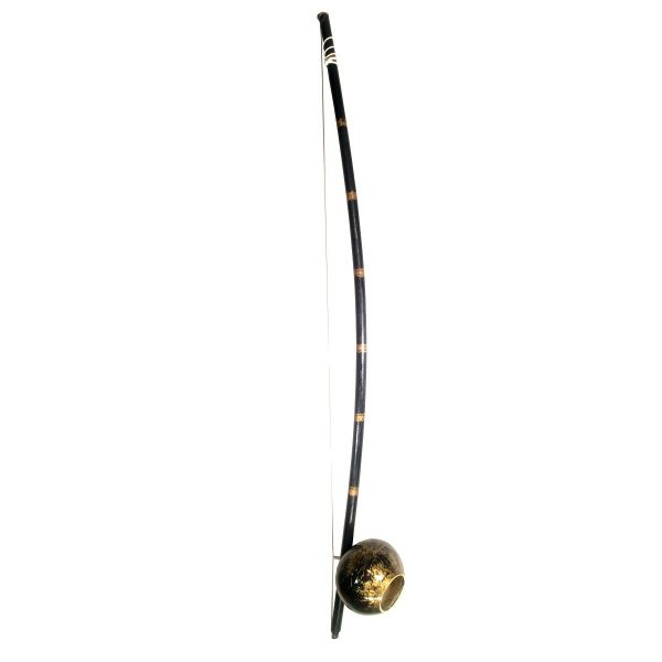 Painted berimbau instrument for capoeira gold black style